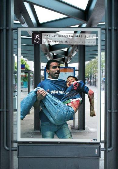 One way that NGOs like Amnesty International contribute to the human rights movement is through awareness campaigns such as this one.
