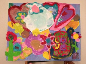 I had each second grader design a flower, and we made the painting together by placing all the pieces together. It was to show the children that although we can make something beautiful on our own, when we work together we can create something amazing.