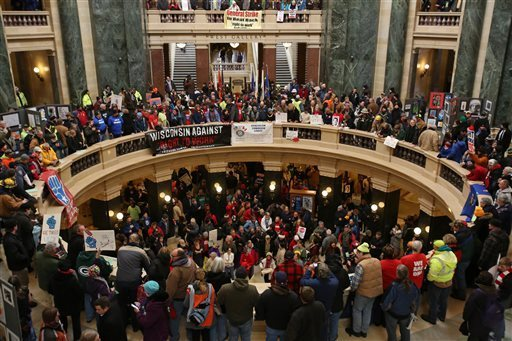 Protesters gather at the capital in late February to protest the Right to Work Bill