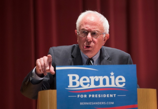 DES MOINES, IA - JUNE 12:  Democratic Presidential Nominee Senator Bernie Sanders (D-VT) speaks at a campaign event at Drake University on June 12, 2015 in Des Moines, Iowa. Sanders, an advocate of porviding free college education to all Americans, was greeted by a standing-room-only crowd at the event.  (Photo by Scott Olson/Getty Images)